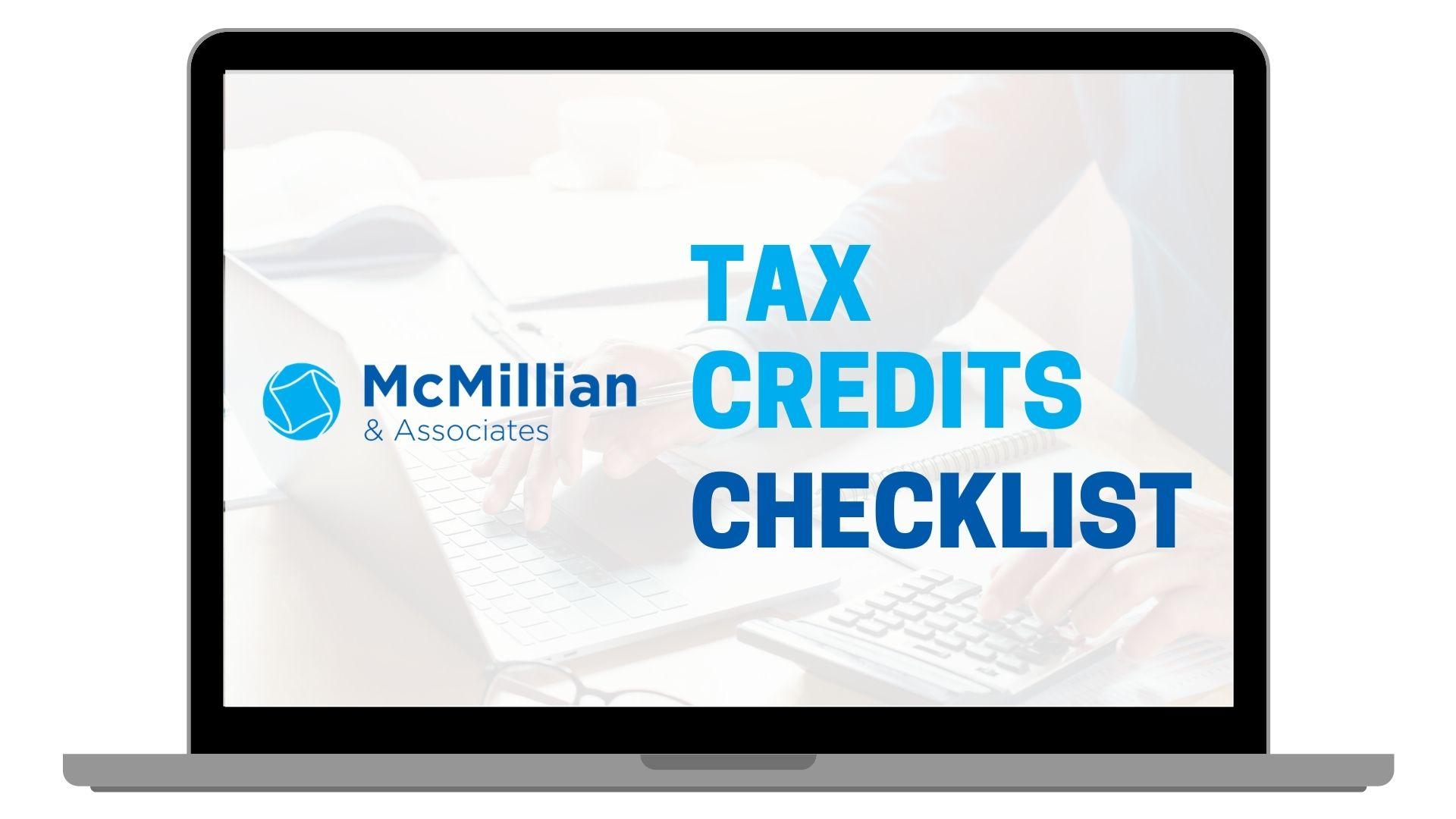MCA Tax Credits Checklist Cover